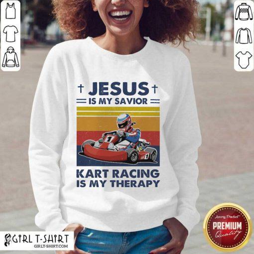 Jesus Is My Savior Kart Racing Is My Therapy Vintage V-neck- Design By Girltshirt.com