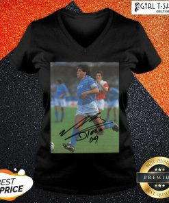 Rip Diego Maradona Legend Never Die Signature V-neck - Design By Girltshirt.com