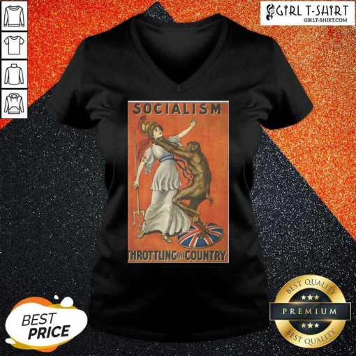 Awesome Socialism Throttling The Country V-neck - Design By Girltshirt.com