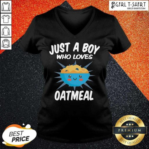 Just A Boy Who Loves Oatmeal V-neck - Design By Girltshirt.com