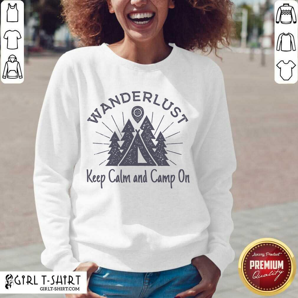 Wanderlust Campground Keep Calm And Camp On V-neck - Design By Girltshirt.com