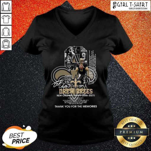 9 Drew Brees New Orleans Saints 2006 2021 Thank You For The Memories Signatures V-neck