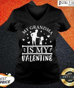 Grandma Is My Valentine V-neck - Design By Girltshirt.com