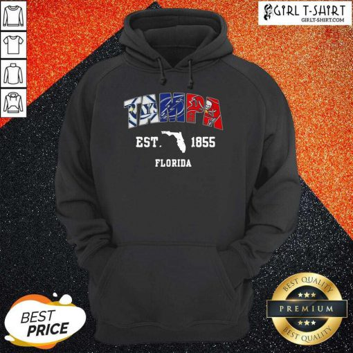 Tampa Tampa Bay Rays Tampa Bay Lightning Tampa Bay Buccaneers Est 1855 Florida Hoodie