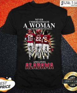 Never Underestimate A Woman Who Understands Football And Loves Alabama Signatures Shirt