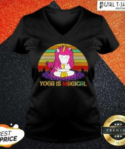 Unicorn Yoga Is Magical Vintage V-neck- Design By Girltshirt.com