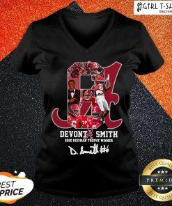 6 Devonta Smith 2020 Heisman Trophy Winner Signature V-neck-Design By Girltshirt.com