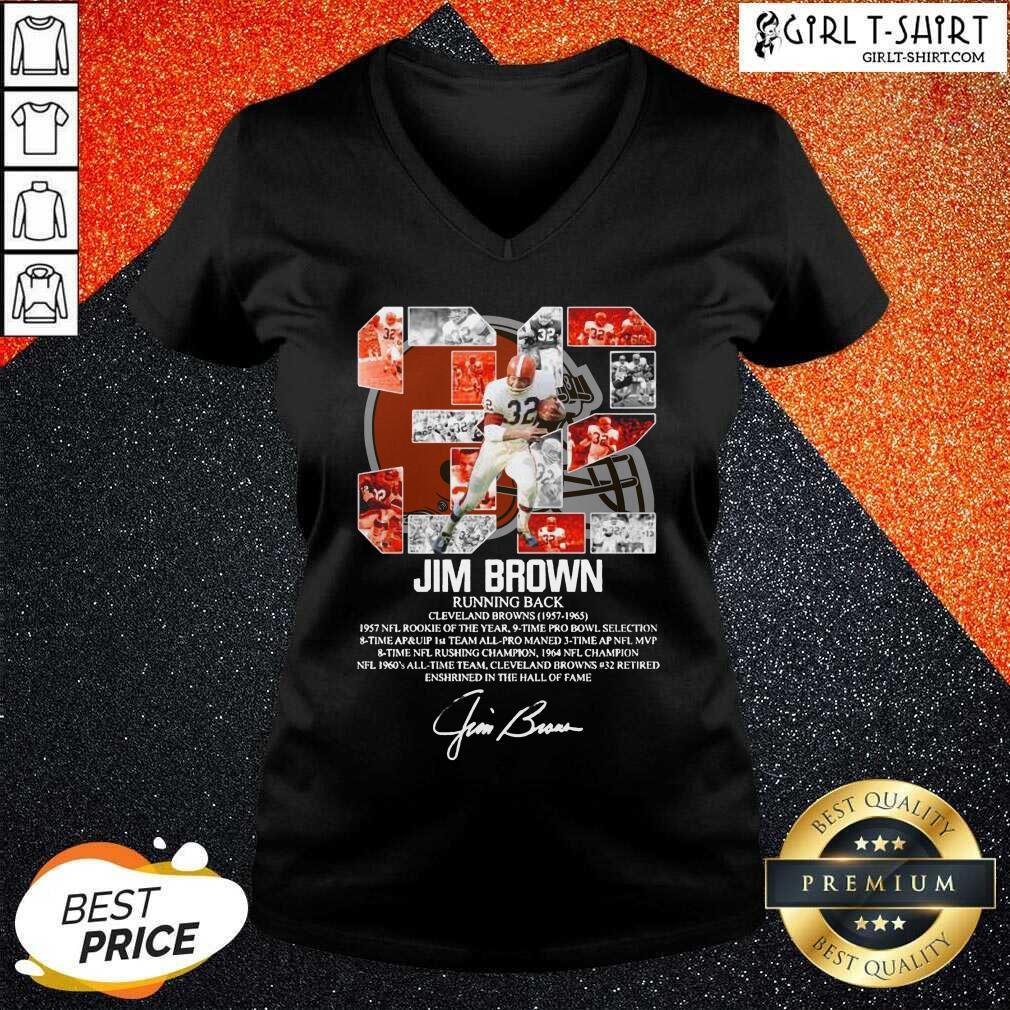32 Jim Brown Running Back Cleveland Browns 1957 1965 Signature V-neck
