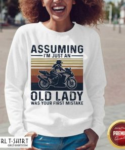 Assuming Im Just An Old Lady Was Your First Mistake Motocycling Vintage V-neck-Design By Girltshirt.com