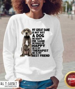 My Great Dane Is Not Just A Dog He Keeps Me Sane Me Makes Me Happy He Is My Therapist He Is My Best Friend V-neck