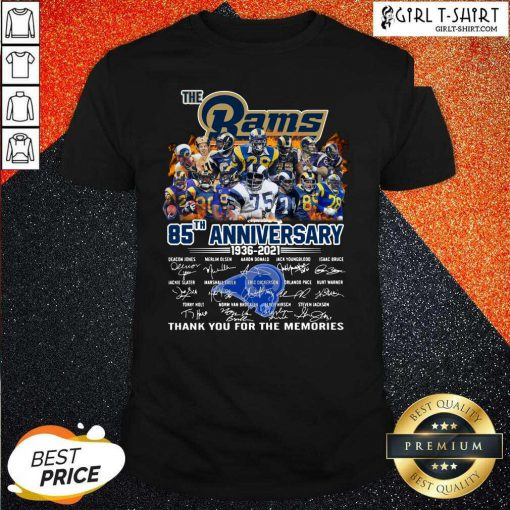 The Rams 85th Anniversary Thank You The Memories Signatures Shirt