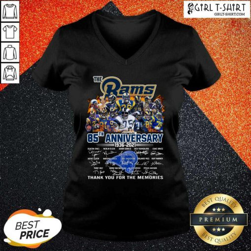The Rams 85th Anniversary Thank You The Memories Signatures V-neck