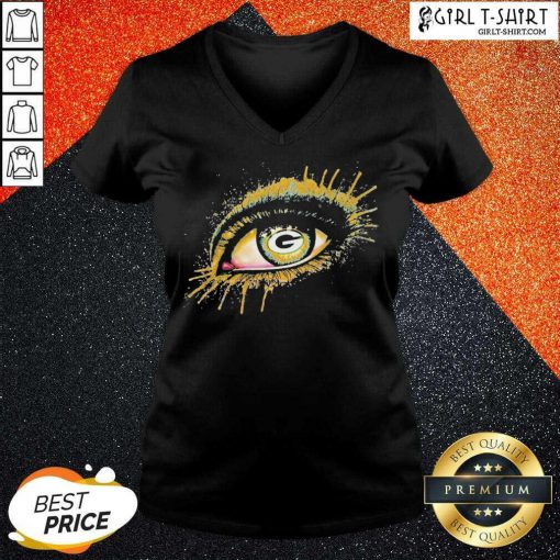 Eyes Green Bay Packers V-neck- Design By Girltshirt.com