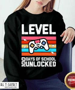 Level 100 Days Of School Unlocked Gamer Video Games Boys Classic Sweatshirt