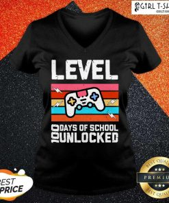 Level 100 Days Of School Unlocked Gamer Video Games Boys Classic V-neck