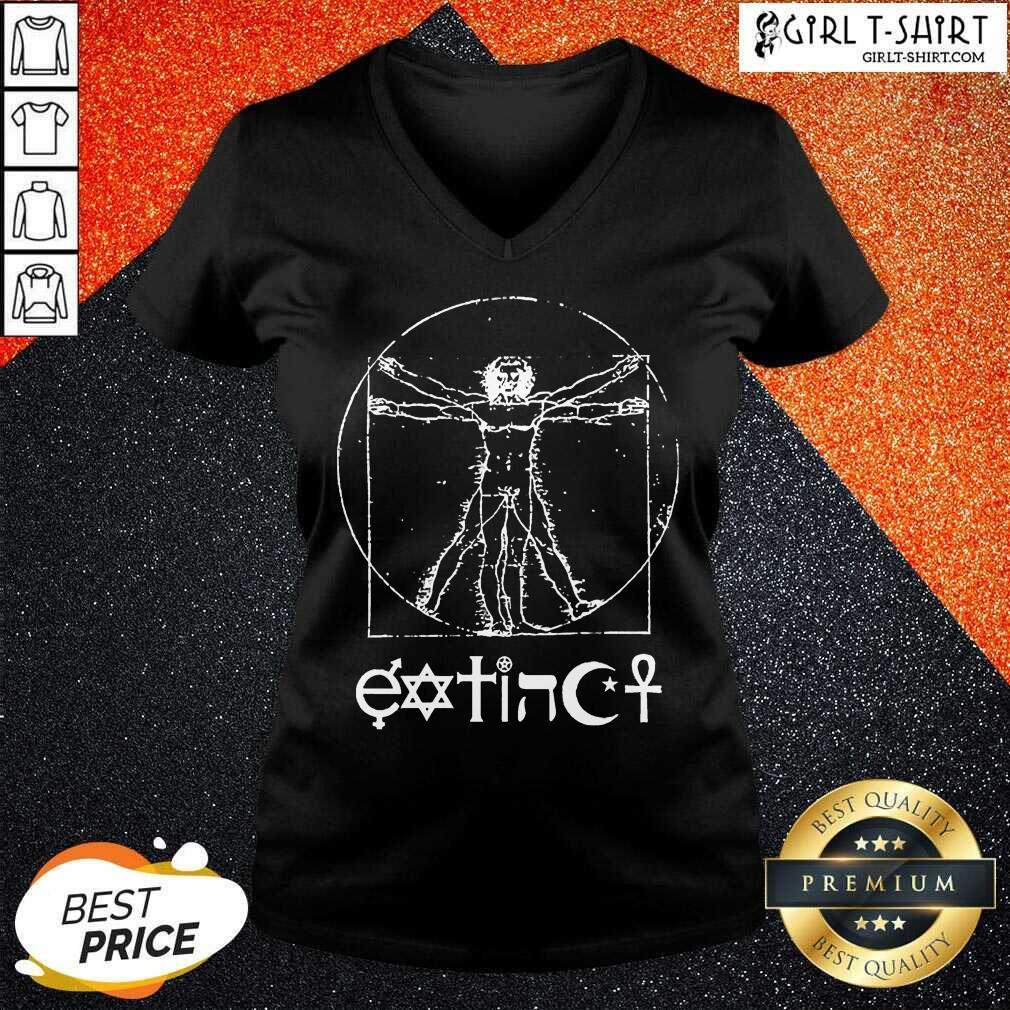 Original Extinct Ventruvian V-neck - Design By Girltshirt.com