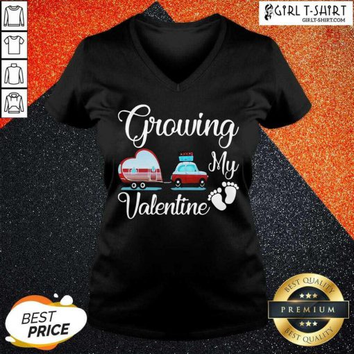 Growing My Valentine V-neck-Design By Girltshirt.com