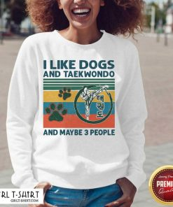 I Like Dogs And Taekwondo And Maybe 3 People Vintage V-neck-Design By Girltshirt.com