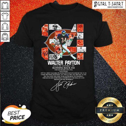 34 Walter Payton July 25 1954 November 1 1999 Running Back Chicago Bears 1975 1978 Signature Shirt