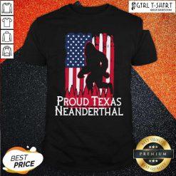 Bigfoot Proud Texas Neanderthal American Flag Shirt