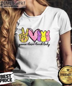 Hot Lunch Lady Peace Love Bunny LaHot Lunch Lady Peace Love Bunny Ladies Teedies Tee