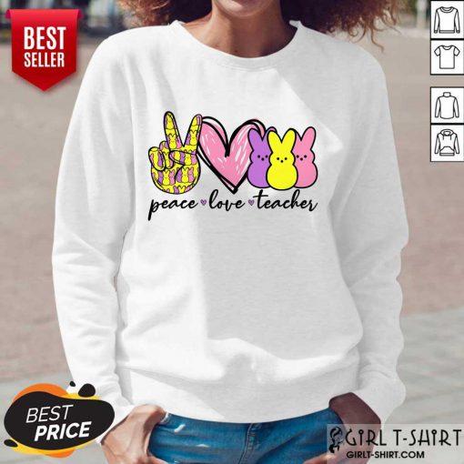 Pretty Teacher Peace Love Bunny Long-Sleeved