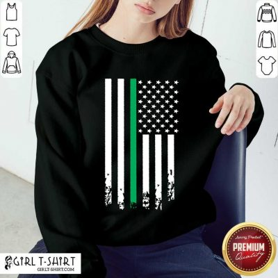 Terrific Green Line Distressed US Flag Sweater