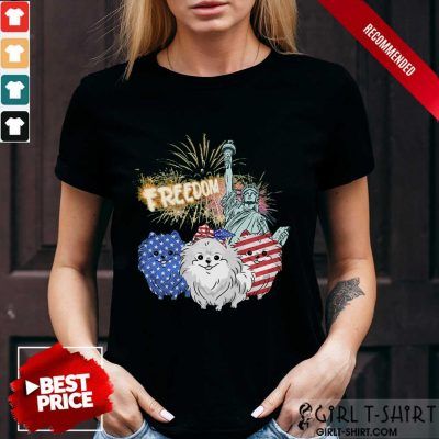 Freedom Dog Pomeranian Statue Of Liberty USA Flag Shirt