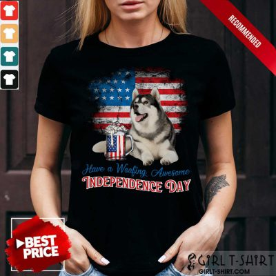 Husky Woofing Awesome Independence Day Shirt